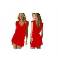 Likralı Plaj Elbisesi - 1 Beden - Kırmızı