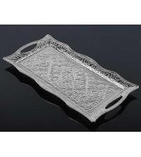 Osmanlı Motifli 2 Kişilik Servis Tepsisi - Gümüş