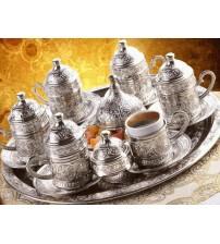 Osmanlı Motifli 6 Kişilik Türk Kahve Seti - Gümüş