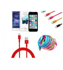 Renkli iPhone 5 5S 6 6S USB Data Kablosu - Kırmızı