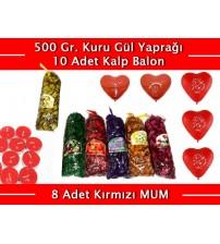 Renkli Kokulu Gül Yaprakları 500 Gr + 10 Kalpli Balon + 8 Kırmızı Mum