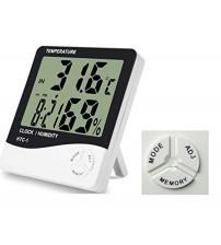 Masaüstü Dijital Termometre Nem Ölçer Saat