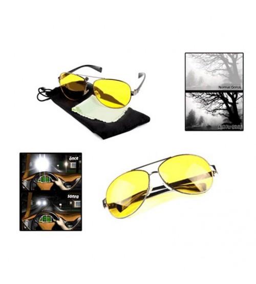 Metal Çerçeveli Anti Far Gece Görüş Gözlüğü (Damla Modeli)