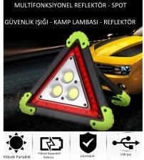 Reflektör 3 Ledli Güneş Enerjili - Kamp Feneri - Işıldak - Powerbank