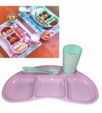 Tabldot Çocuk Yemek Plastik Tabldot Set 4 Parça - Bölmeli Bardak Çatal Kaşıklı