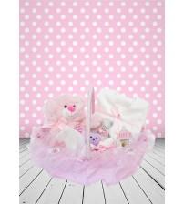 Yeni Doğan Hoş Geldin Bebek Hediyesi Hastane Çıkışı 6 lı Kulplu Sepet (Kız) P046